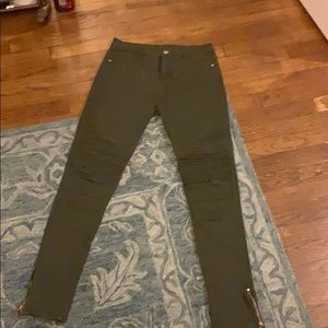 Olive green jean pants